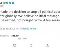 Twitter prohibirá a publicidade electoral